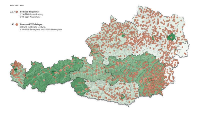 Karte Biomasseanlagen in Österreich 2018